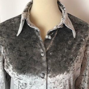Bebe Gray or Silver Crushed Silk Velvet Top
